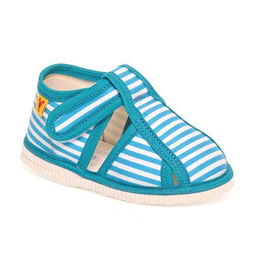 Children's slippers – turquoise stripes
