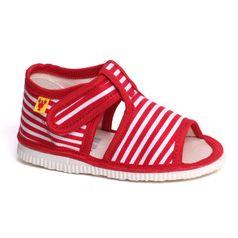 Children's slippers - red stripes