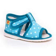 Children's slippers - turquoise dot