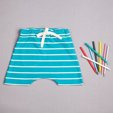 Shorts  turquois strips - GOTS