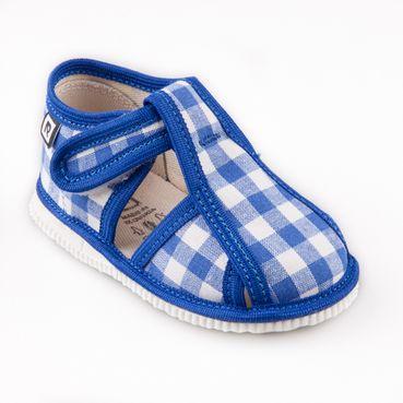 Children's slippers – light blue vichy karo