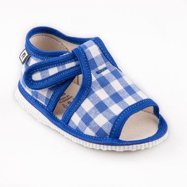 Children's slippers- light blue vichy karo