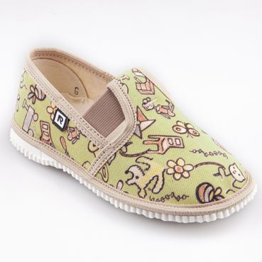 Children's slippers - dog and cat green