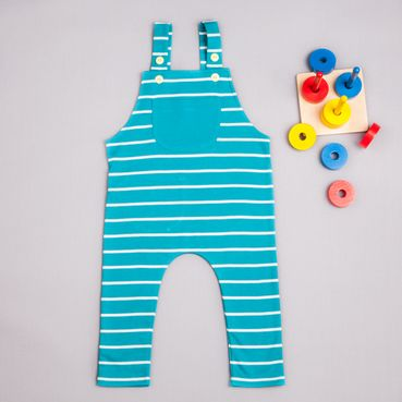 Summer dungarees turquois strip - GOTS