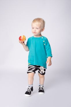 T-shirt turquoise long sleeve - GOTS